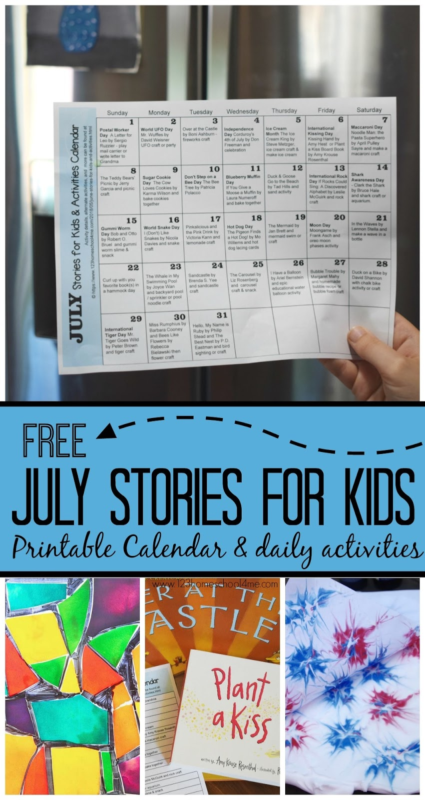 FREE July Stories for Kids & Activity Calendar