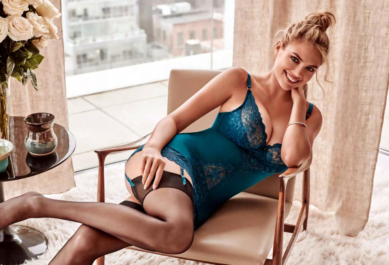 Kate Upton in Blue Lingerie Hot Wallpaper