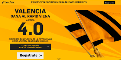 betfair Valencia gana Rapid Viena supercuota 4 Europa League 18 febrero