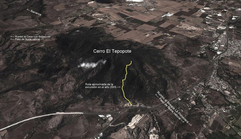 Ruta aproximada excursión al Cerro El Tepopote, años 2004 y 2005