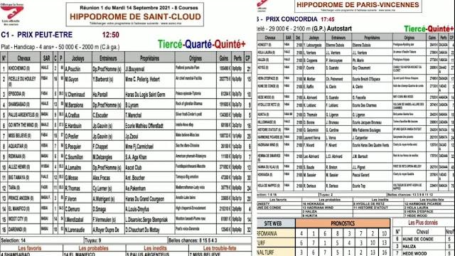programme quinté+ Pronostic Mardi 14/09/2021