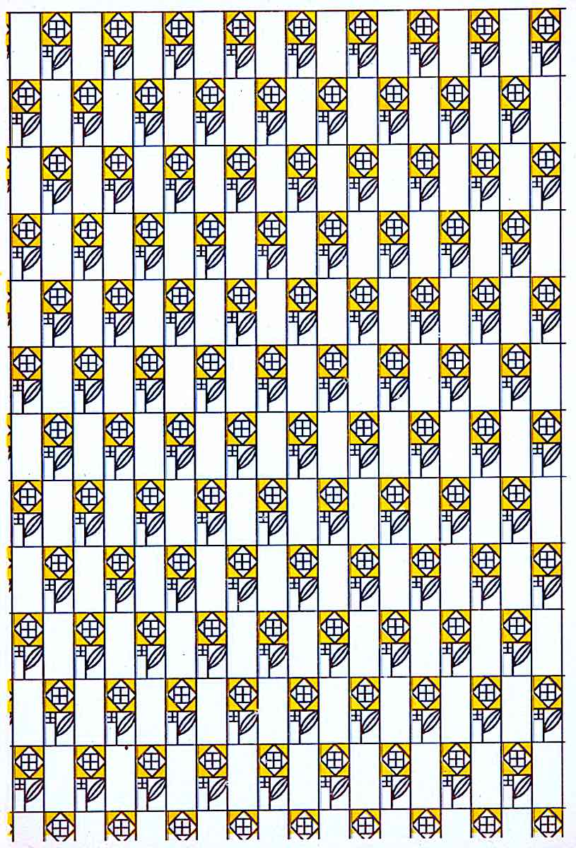 a Kolomon Moser design of black and yellow flowers in a pattern