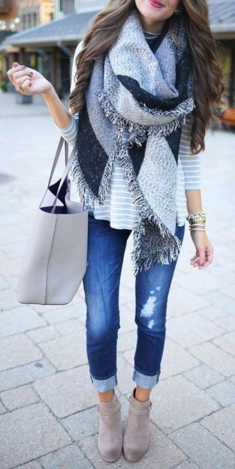 awesome winter outfit / striped top + scarf + bag + skinnies + boots