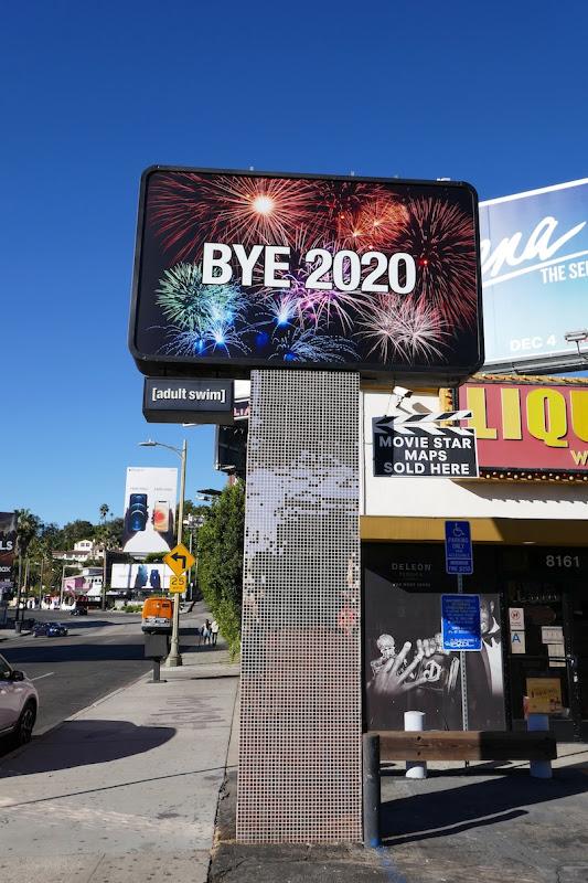 Bye 2020 Adult Swim billboard Sunset Strip