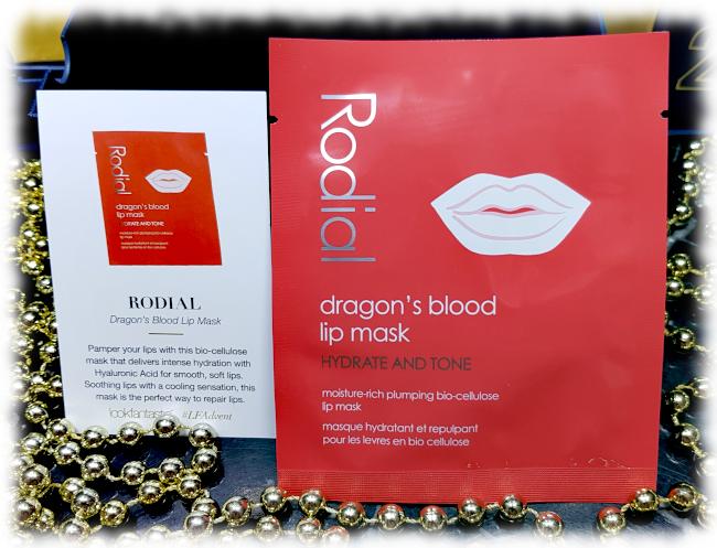 Rodial Dragon's Blood Lip Mask sachet & description card