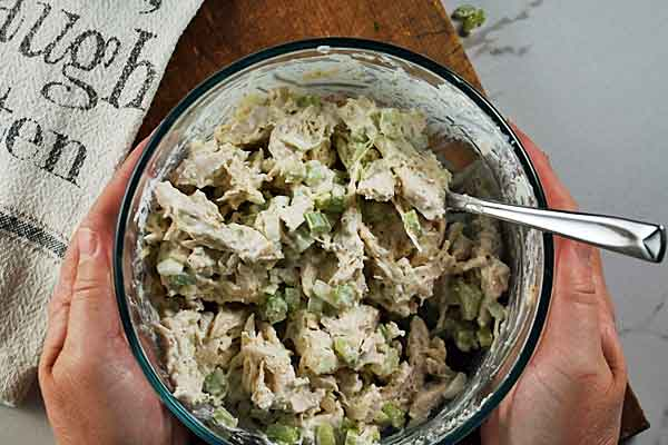 Chicken Salad ready to chill in fridge