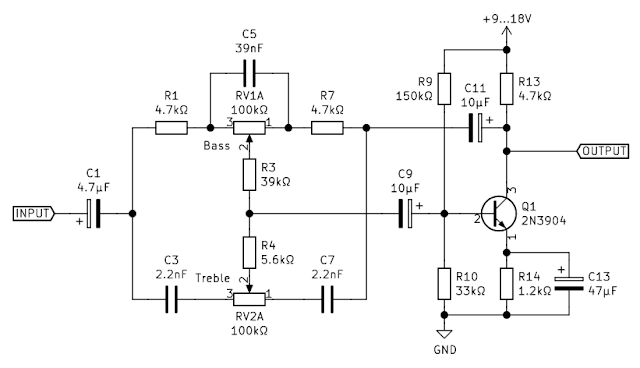 Schematic of the tone controller (only left channel shown)
