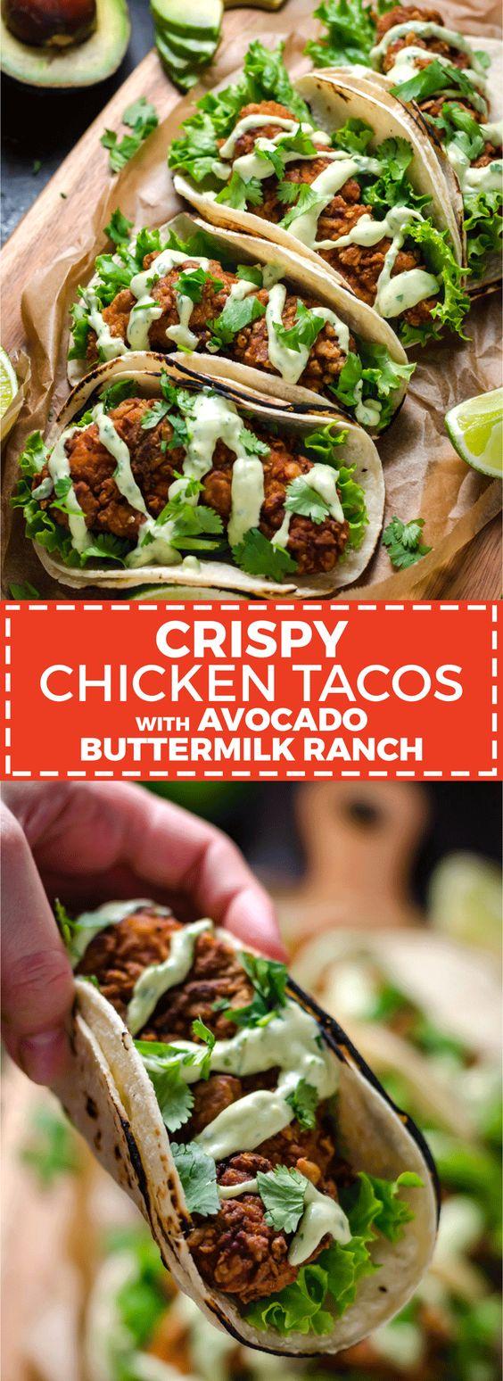 CRISPY CHICKEN TACOS WITH AVOCADO BUTTERMILK RANCH #crispy #chicken #chickenrecipes #tacos #avocado #buttermilk #ranch #deliciousrecipes #deliciousfood