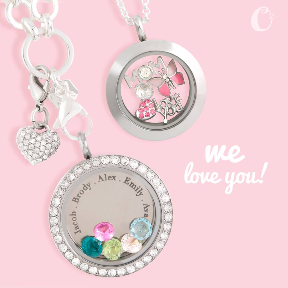 Inscriptions Origami Owl Mother's Day Locket with Crystals available at StoriedCharms.com