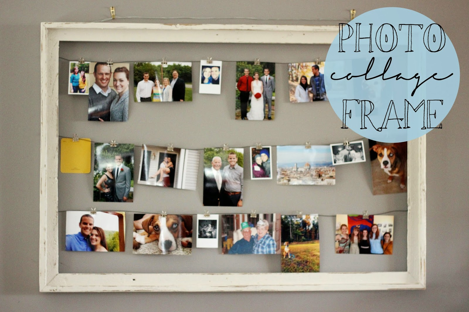 diy rustic photo collage frame my crafty spot when life gets creative. Black Bedroom Furniture Sets. Home Design Ideas