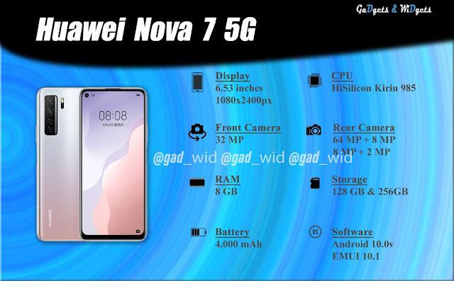 gadgets and widgets, huawie, gadnwid, gadwid, huawie nova, nova, huawei nova 7, nova 7, huawei nova 7 5g, nova 7 5g, huawei nova 7 specs