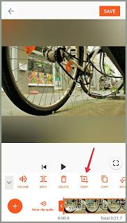 Crop icon in toolbar Tutorial edit Video YouCut
