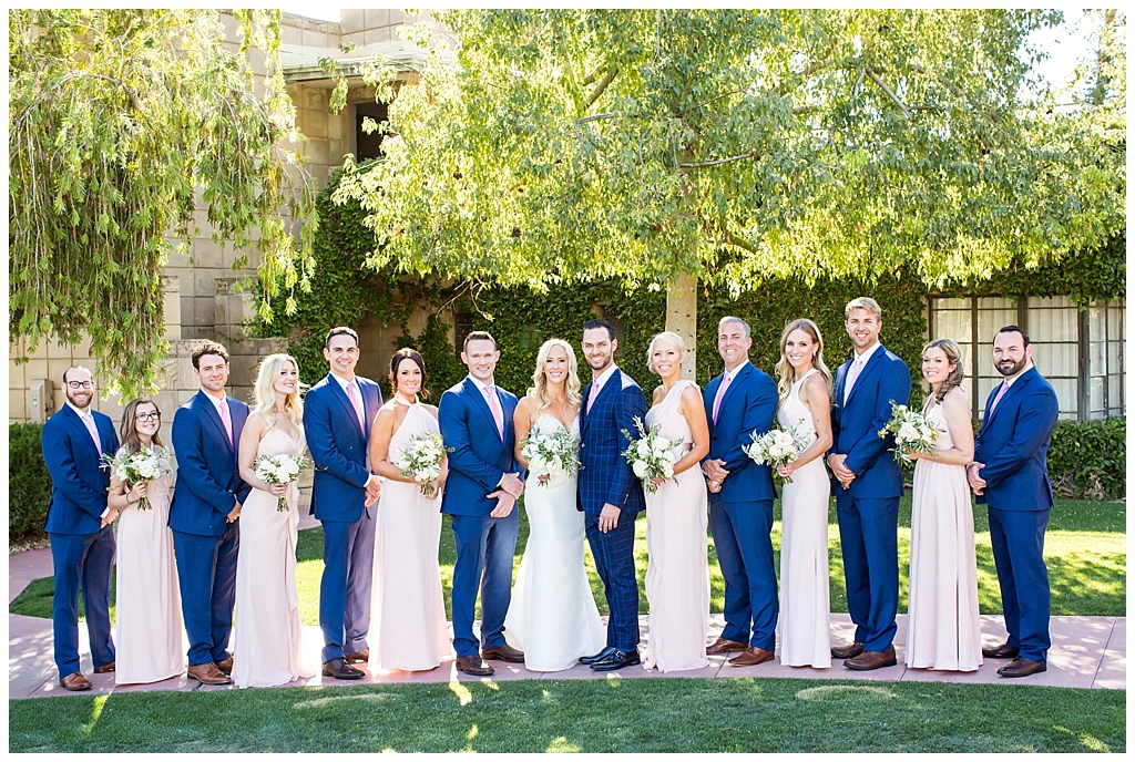 wedding party in navy and blush