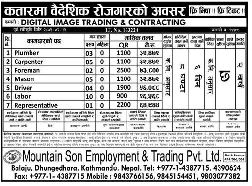Free Visa, Free Ticket, Jobs For Nepali In QATAR , Salary -Rs.73,000/
