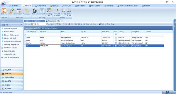 Phần mềm quản lý tòa nhà với giao diện thân thiện