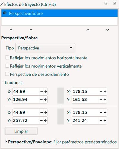 Panel de Efectos de trayecto de Inkscape