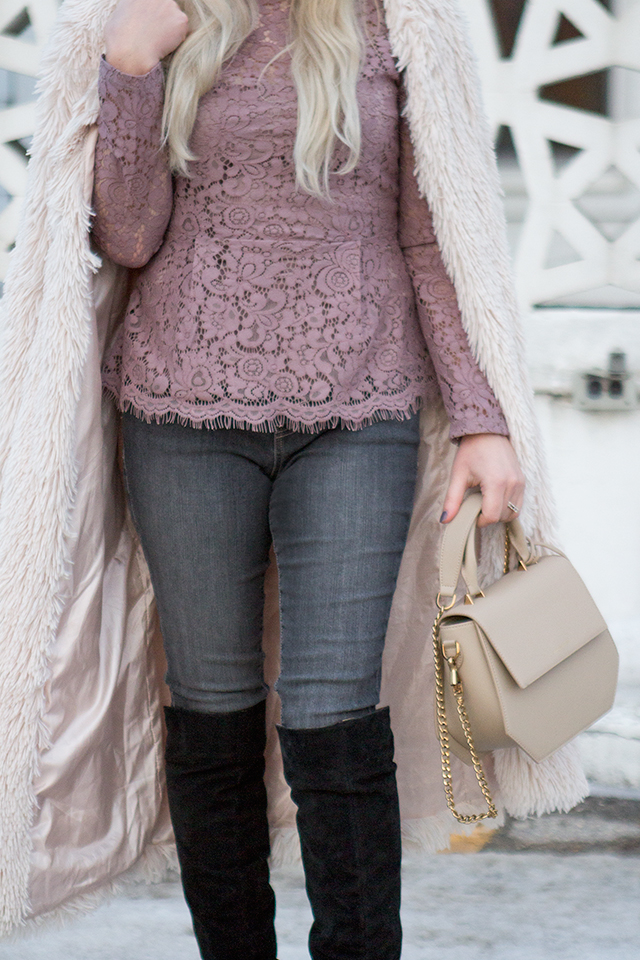 Grey Denim & Lilac Lace // Outfit inspiration featuring JAG pull-on jeans