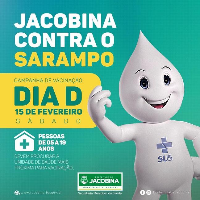 Dia 'D' contra o sarampo será neste sábado (15) em Jacobina