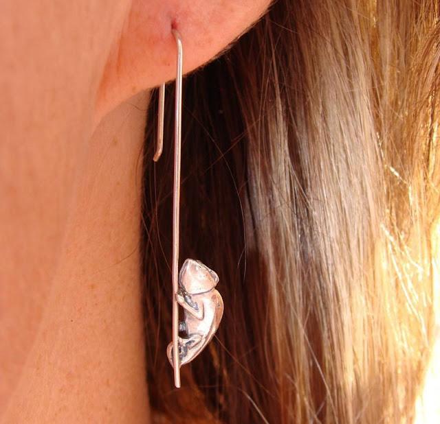 Sterling Silver Chameleon Earrings