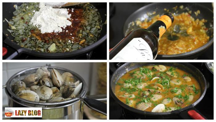 Lazy blog almejas a la marinera receta de aperitivo for Como preparar almejas en salsa
