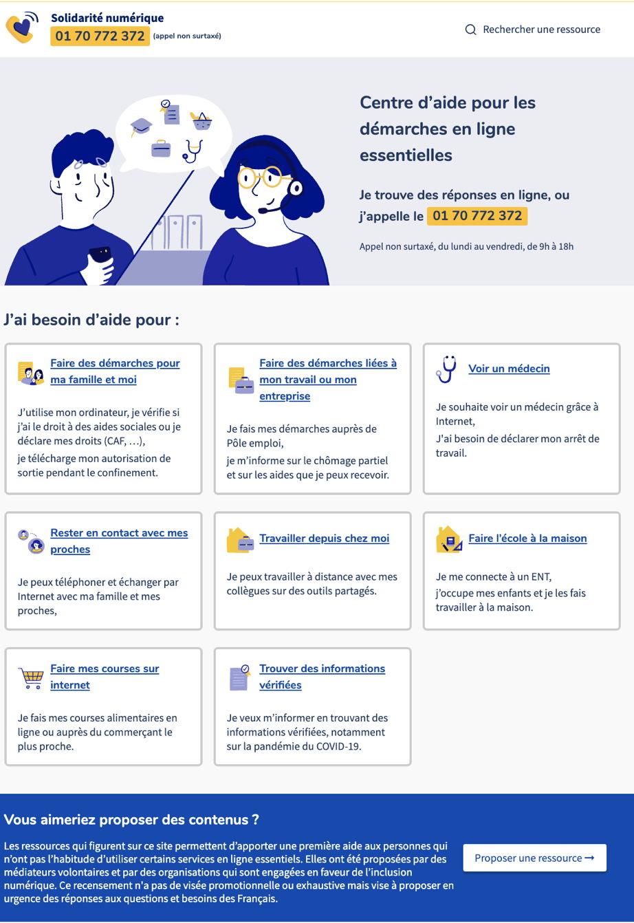 capture écran page accueil site