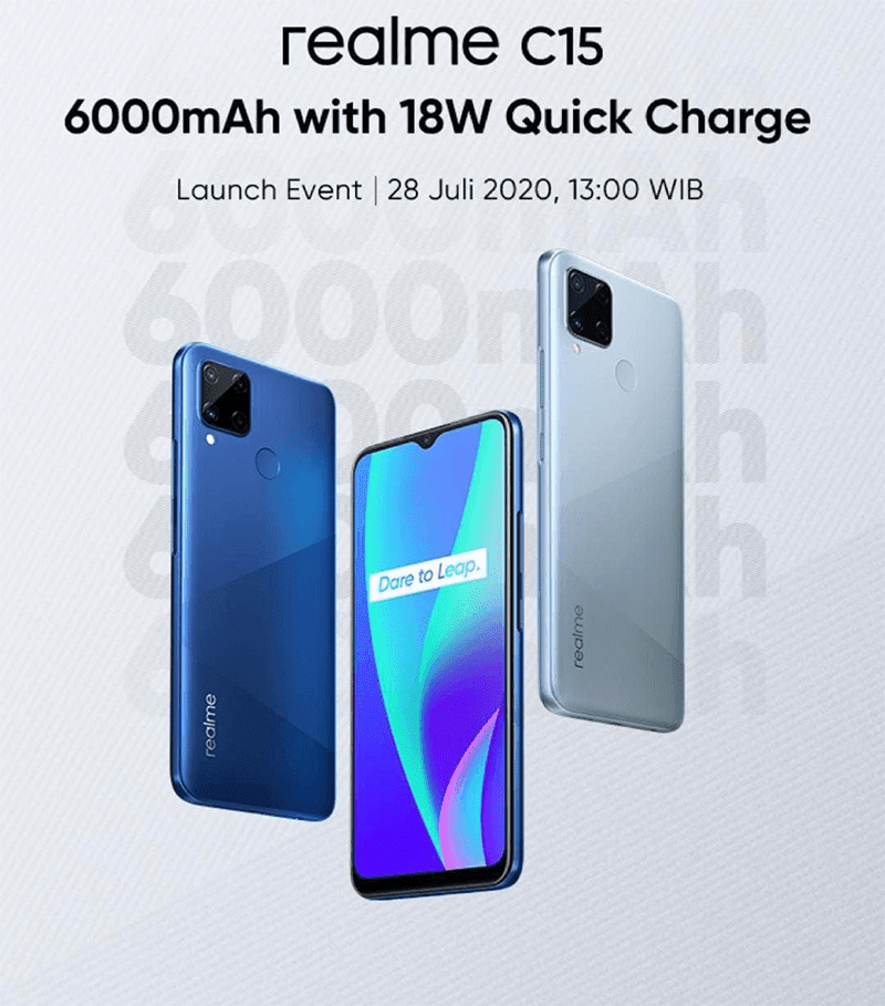 Teaser of realme C15 with 6,000mAh battery and 18W Fast Charge leaks