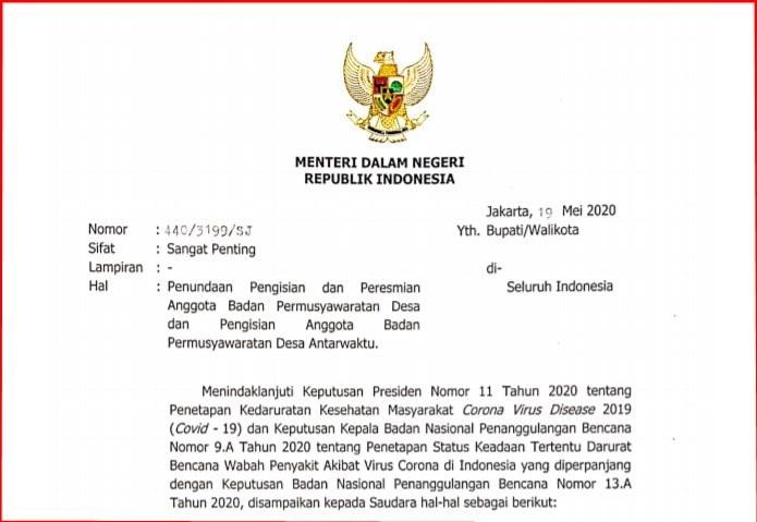 Surat Mendagri tentang Penundaan Pemilihan dan Peresmian Anggota BPD Surat Mendagri tentang Penundaan Pemilihan dan Peresmian Anggota BPD