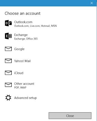 Pilihan jenis akun di aplikasi Email