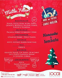 Cafe Local Alanya Antalya 2020 Yılbaşı Programı Menüsü