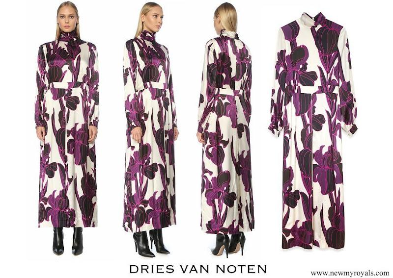 Queen Mathilde wore Dries van Noten floral long sleeve silk dress