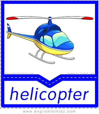 helicopter, printable flashcards of air transportation