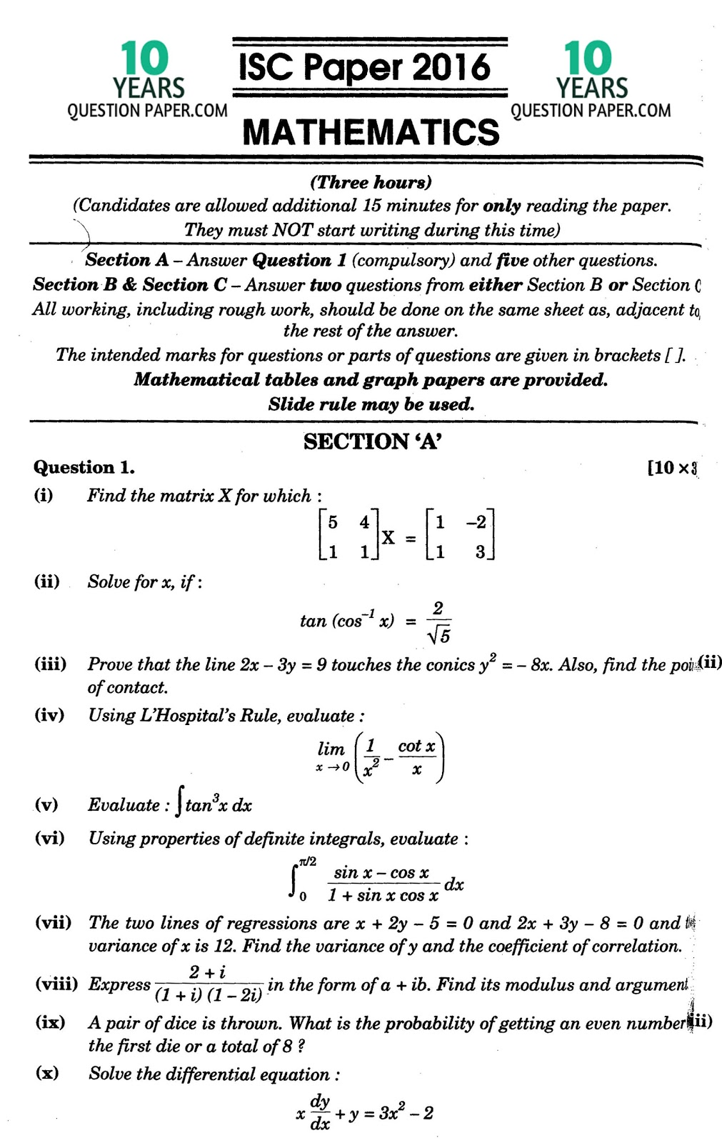 isc mathematics solved paper class years question paper note the solution will be sent in your email in 24 hr