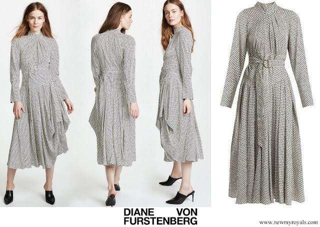 Crown Princess Mette-Marit wore Diane von Furstenberg High Neck Belted Polka-dot Silk Midi Dress