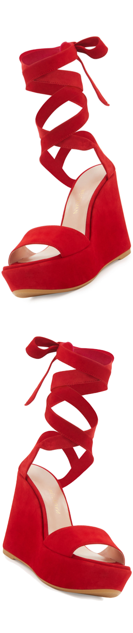Stuart Weitzman Backtie Suede Ankle-Wrap Wedge Sandal