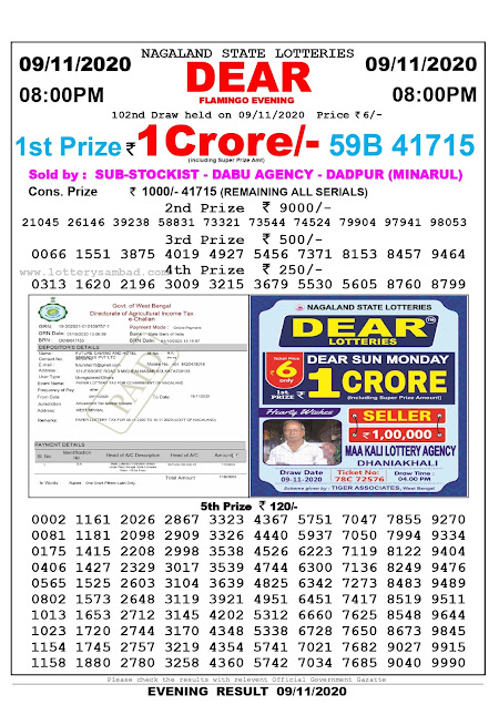 Lottery Sambad 09-11-2020 Today Results 8:00 pm, Nagaland State Lottery Sambad Today Result 8 pm, Sambad Lottery, Lottery Sambad Live Result Today