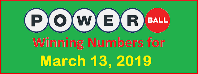 PowerBall Winning Numbers for Wednesday, 13 March 2019