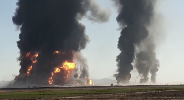 Fuel tanker on Afghanistan-Iran border after fire, more than 500 trucks burnt