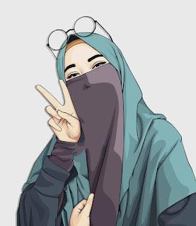 kartun wanita  muslim memakai cadar