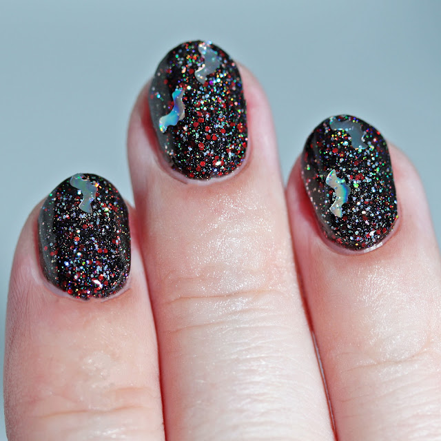 Nail Hoot Indie Lacquers Attack of the Holographic Bats over Black Widow