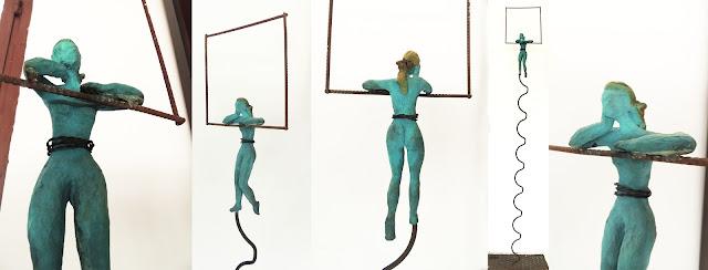 Soledad Galiardo escultura móvil hierro turquesa mujer