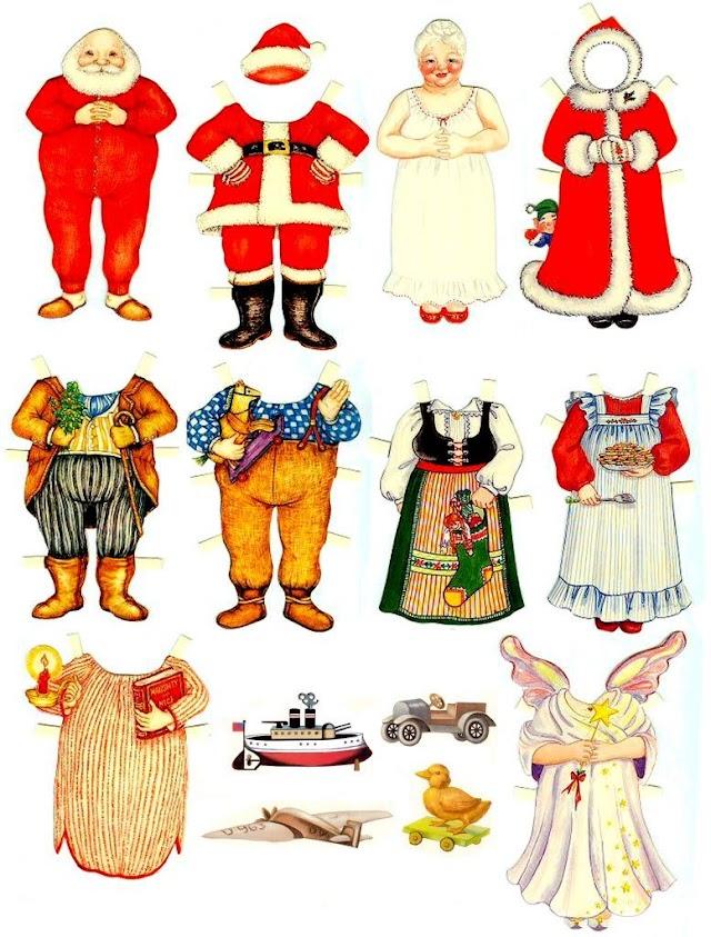 Бумажные куклы Санта Клаус с женой