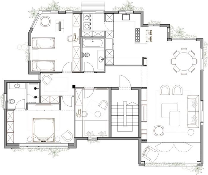Thiết kế nội thất căn hộ chung cư 150m2 với hai màu đen trắng- 15