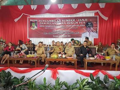Bupati JWS di Dampingi Bupati Ivansa hendak melantik 6 Hukum Tua di 4 Kecamatan.