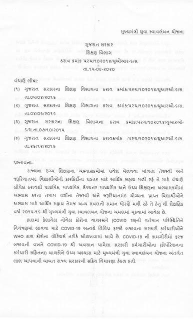 Regarding implementation of Mukhyamantri Yuva Swavalamban Yojana to the children of employees who died from corona