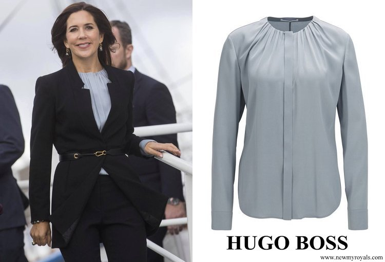 Crown Princess Mary wore Hugo Boss Banora Silk-blend Blouse