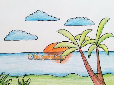 gambar mewarnai pemandangan alam pantai