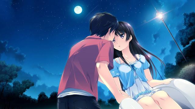 Zakochana para nocą, w świetle księżyca - visual novel Kono Oozora ni, Tsubasa wo Hirogete