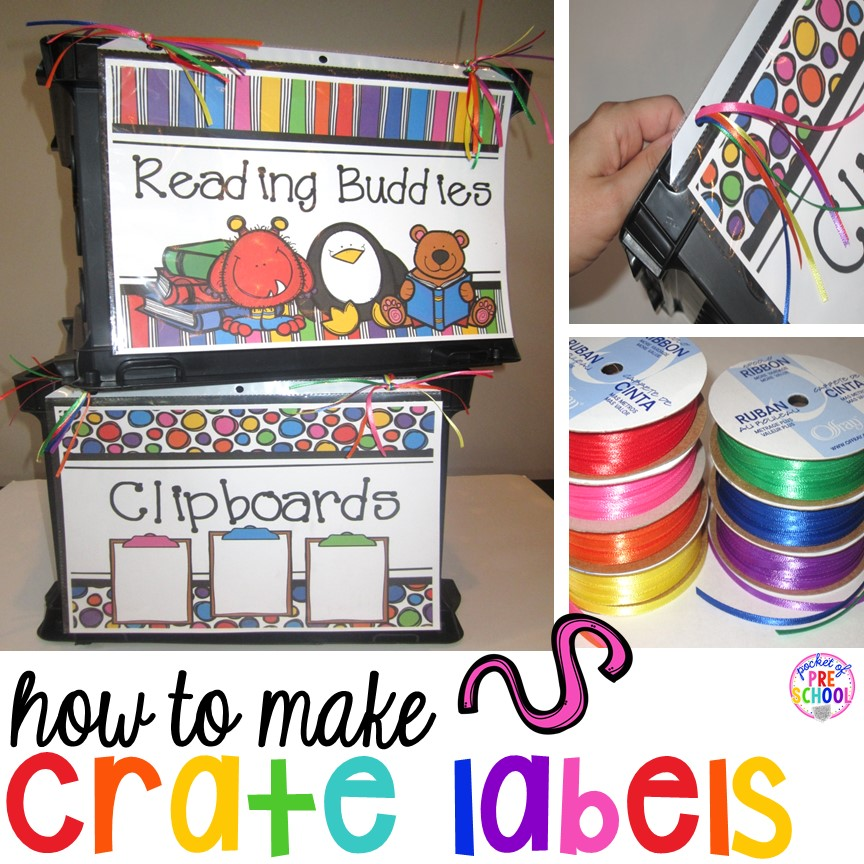 DIY - How to make crate labels for your preschool, pre-k, and kindergarten classroom. Get organized this year.