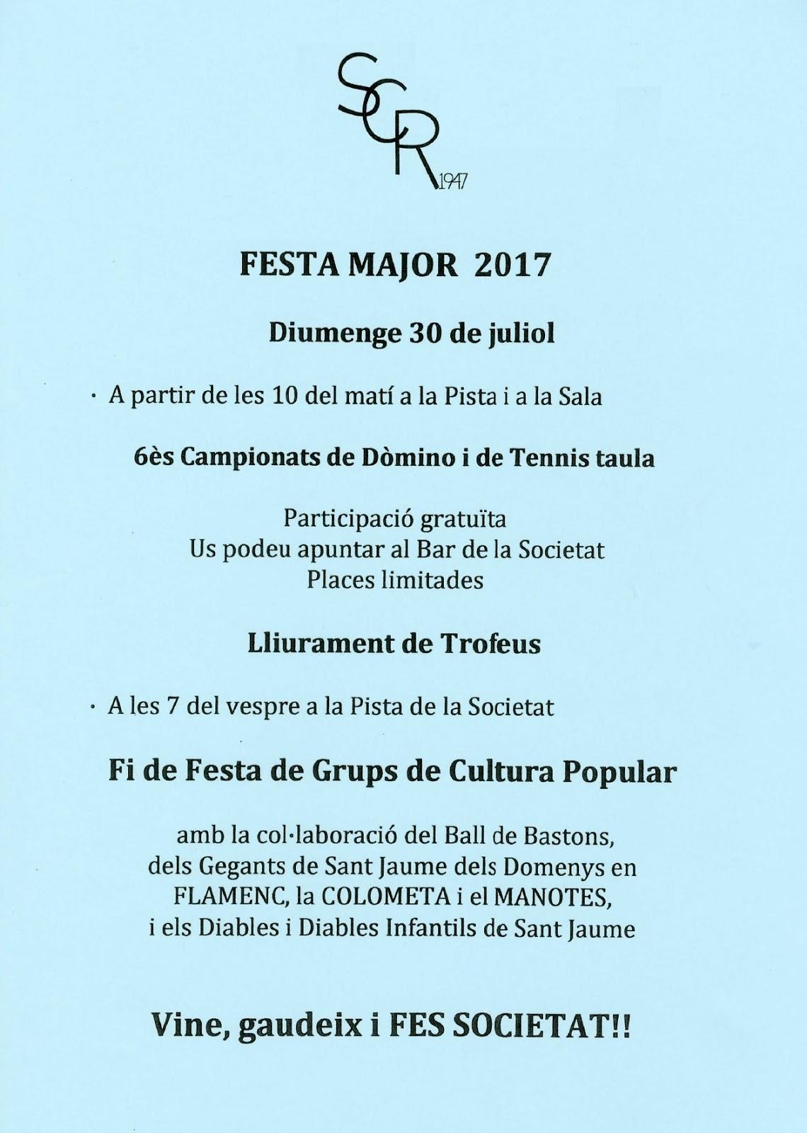 Esguard de Dona - 6ès Campionats de Dòmino i de Tennis de Taula - Societrat Cultural i Recreativa Sant Jaume dels Domenys - Festa Major 2017