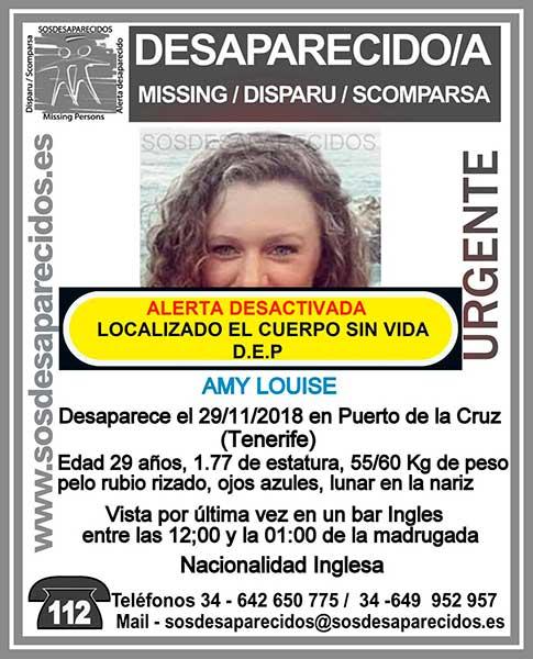Localizan sin vida el cuerpo de Amy Louise, Puerto de La Cruz, Tenerife